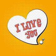 I love you pop art. text to symbol of heart. Illustration tyle of pop art - stock illustration
