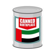 Canned birthplace. Patriotic Preserved birthplace. Part of motherland in Tin. Stock Illustration