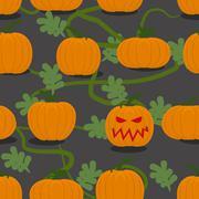 Scary halloween pumpkin among plantation of pumpkins. Pumpkin farm seamless p - stock illustration