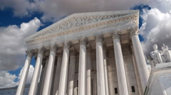 United States Supreme Court Building in Washington DC with Time Lapse Clouds Stock Footage