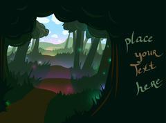 Forest trail background - stock illustration