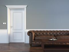 Door with sofa in empty room interior scene Stock Illustration