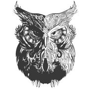 Stock Illustration of Owl Shadowesd Black
