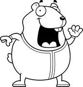 Cartoon Hamster in Pajamas - stock illustration