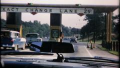 2549 - highway toll booth, turnpike / highway traffic - vintage film home movie Stock Footage