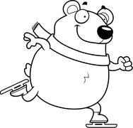 Cartoon Polar Bear Ice Skating - stock illustration
