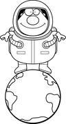 Cartoon Astronaut Earth - stock illustration