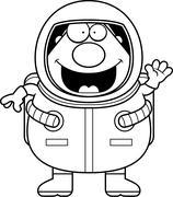 Stock Illustration of Cartoon Astronaut Waving