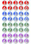Set of artistic number buttons with frames in metallic silver design in four  Stock Illustration