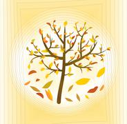 Tree with colorful leaves on a pale yellow abstract background, fine autumn t - stock illustration