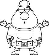 Handyman Confused - stock illustration