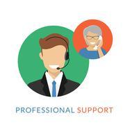 Male call centre operator - stock illustration