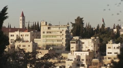 Houses on hill in Amman, Jordan as pigeons fly past Stock Footage