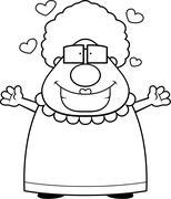 Grandma Hug - stock illustration