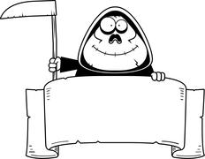 Cartoon Grim Reaper Banner - stock illustration