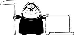 Cartoon Grim Reaper Sign - stock illustration