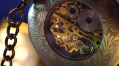 Old Stopwatch Clock Gears Mechanism. Stock Footage
