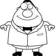 Cartoon Groom Smiling - stock illustration