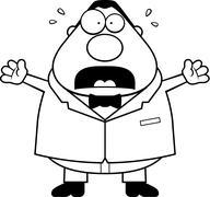 Cartoon Groom Scared - stock illustration