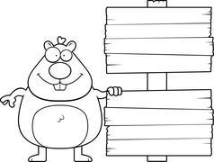 Cartoon Hamster Sign Stock Illustration