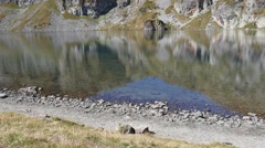 Clear pure water and shore of Rila Lake in a National Nature Park in Bulgaria Stock Footage
