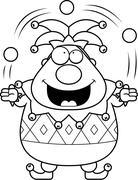Cartoon Jester Juggling - stock illustration