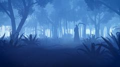 Creepy night forest with grim reaper silhouette Stock Illustration