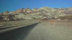 Artist Palette driving Death Valley Stock Footage
