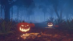 Halloween pumpkins in a misty forest close up Stock Illustration
