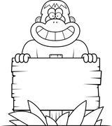 Cartoon Bigfoot Sign - stock illustration