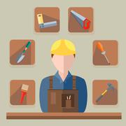 Builder saw, hammer, brush, shovel - stock illustration