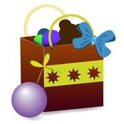Gift bag vector with toys - stock illustration