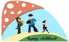 People boy, children, mushroom. Happy childhood - stock illustration