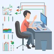 Man computer graphic Stock Illustration