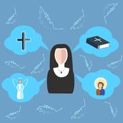 Nun cross, bible, angel, icon, clouds - stock illustration