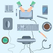Set gadgets mouse, keyboard, tablet, headphones, calculator, mon - stock illustration