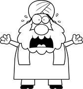 Scared Cartoon Sikh - stock illustration