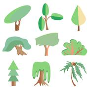 Trees, palm, oak, spruce, bush, willow, symbolic icons Stock Illustration