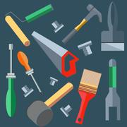 Tools hammer, saw, screwdriver, spatula, brush, roller Stock Illustration