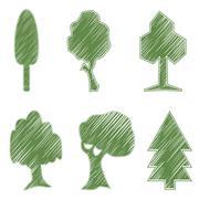 Trees, oak, spruce, bush, willow, symbolic icons Stock Illustration