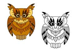 Little cartoon brown owl bird Stock Illustration