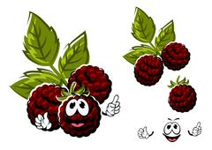 Cartoon blackberry berries fruits with leaves - stock illustration