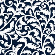 Ornamental white floral seamless pattern - stock illustration