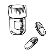 Bottle sketch with pills and capsules - stock illustration
