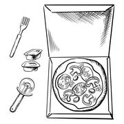 Pizza box, sauce cups, fork and cutter sketch - stock illustration