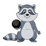 Stock Illustration of Cartoon raccoon player with bowling ball