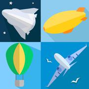 Set airplane, airship, balloon, space shuttle Stock Illustration