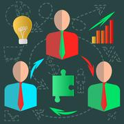 Fixated business infographics discussion ideas - stock illustration