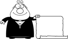 Cartoon Priest Sign - stock illustration