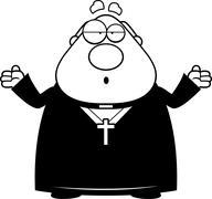 Confused Cartoon Priest - stock illustration